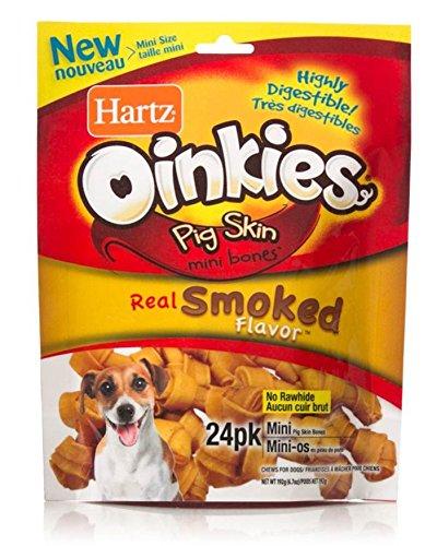 HARTZ Oinkies Smoked Pig Skin Mini Bones, (Hartz Tiny Dog)