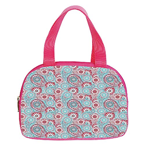 iPrint Strong Durability Small Handbag Pink,Henna,Hand Drawing Style Old Fashioned Mandala Figures Blossoming Nature Inspired Motifs Decorative,Tan Caramel,for Students,3D Print Design.6.3