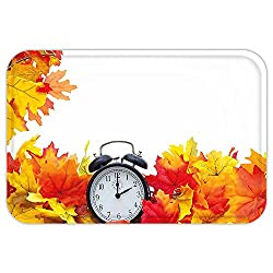VROSELV Custom Door MatClock Decor Autumn Leaveand an Alarm Clock Fall Season Theme Romantic Digital Print White and Orange