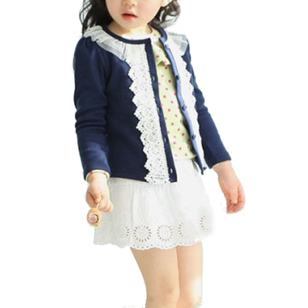 Goocheer Girls Toddler Long Sleeve Crewneck Lace Embellished Cardigan Sweaters Outerwear With Knots, Navy Blue(110cm)