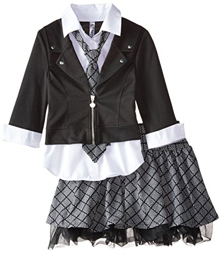 Beautees Big Girls' Back To School Skirt Set with Crinolin, Black, Large