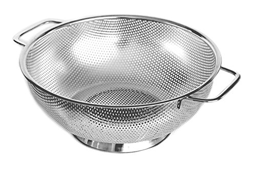 Cucinare Stainless Steel Colander 5-Quart Strainer for Cooking and Kitchen Use(Large)
