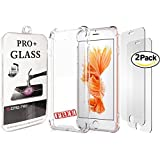 "iPhone 8 Plus 7 Plus Screen Protector B O N U S Protective Crystal Clear Case - Premium Tempered Glass for Apple iPhone 8 Plus 7 Plus [2 Pack] [5.5"" inch] EMDPro Pro+ 9H 2.5D"
