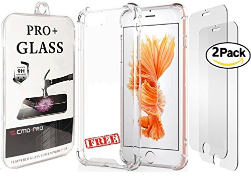 """iPhone 8 Plus 7 Plus Screen Protector B O N U S Protective Crystal Clear Case - Premium Tempered Glass for Apple iPhone 8 Plus 7 Plus [2 Pack] [5.5"""" inch] EMDPro Pro+ 9H 2.5D"""