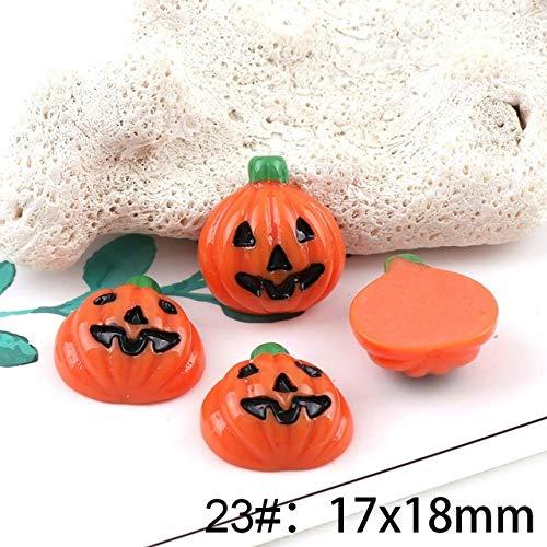 ZAMTAC 10pcs 1718mm Pumpkin Smiley face Halloween Party Resin DIY Flatback Embellishment Accessories Scrapbooking Craft Making - (Color: 23)