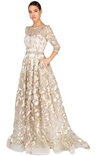 3ed7a5cf Terani Couture - 1913M9408 Quarter Sleeve Embroidered Sheer Ballgown