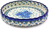 Polish Pottery 9-inch Fluted Pie Dish made by Ceramika Artystyczna (Forget Me Not Theme) + Certificate of Authenticity