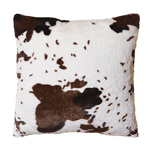 North End Décor Faux Fur Cowhide Plush Throw Pillow 18
