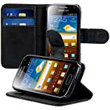 kwmobile Elegant synthetic leather case for the Samsung Galaxy Ace 2 i8160 with magnetic fastener and stand function in black