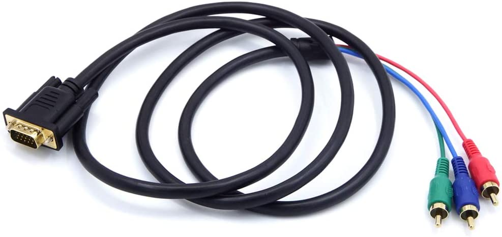 DOONJIEY 1.5m VGA to TV 3 RCA Component AV Audio Adapter Cable for PC Laptop hudiemm0B VGA to 3 RCA AV Component Adapter Cable