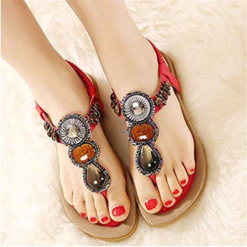 to Clip Beaded de Flats de Moda Comfortable Bohemia Rojo mujeres Toe Sweet it las SKY Herringbone wear Sandalias qpxPU7U5