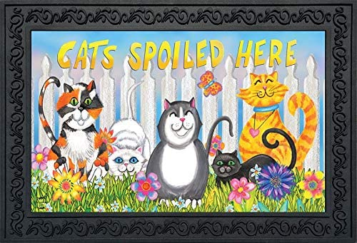 Briarwood Lane Cats Spoiled Here Spring Doormat Floral Humor Indoor Outdoor 18 x 30