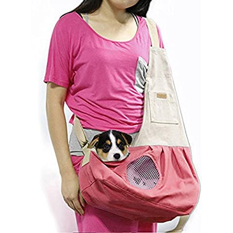 Pet Sling Carrier, PYRUS Dog Sling Bag Shoulder Carry Bag with Extra Pocket for Cat Dog Puppy Kitty Rabbit Small Animals (Pink)