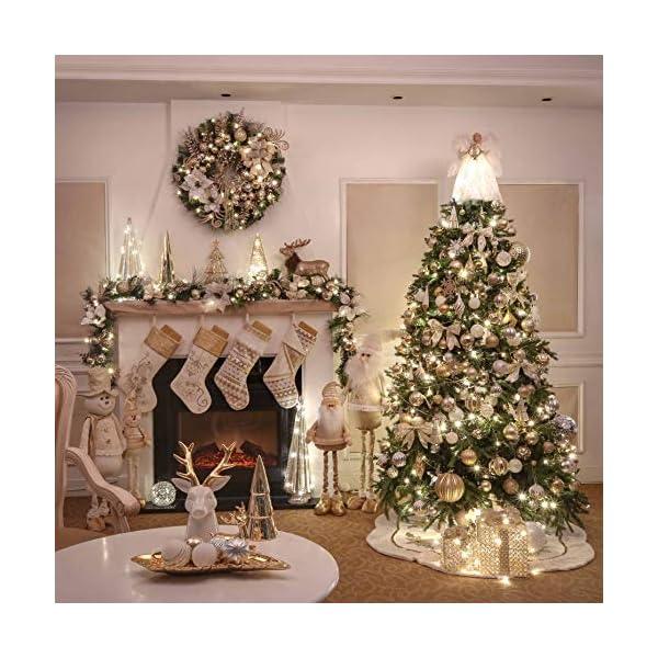 Valery Madelyn Palle di Natale 16 Pezzi 8cm Palline di Natale, Eleganti Ornamenti di Palle di Natale Infrangibili in Oro e Bianco per la Decorazione Dell'Albero di Natale 7 spesavip
