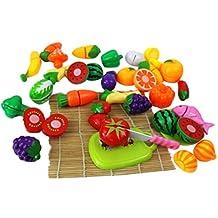 Qianle 24pcs Plastic Kitchen Play Set Kids Fruits&Vegetables Pretend Play Toys