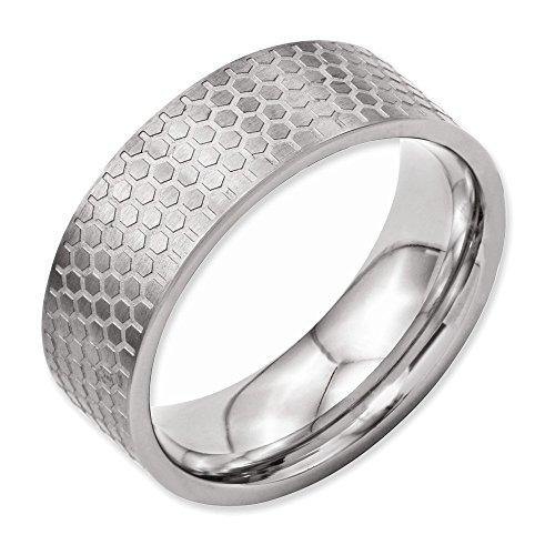 Jewelry Adviser Rings Titanium 8mm Brushed Patterned Flat Band Size 13.5