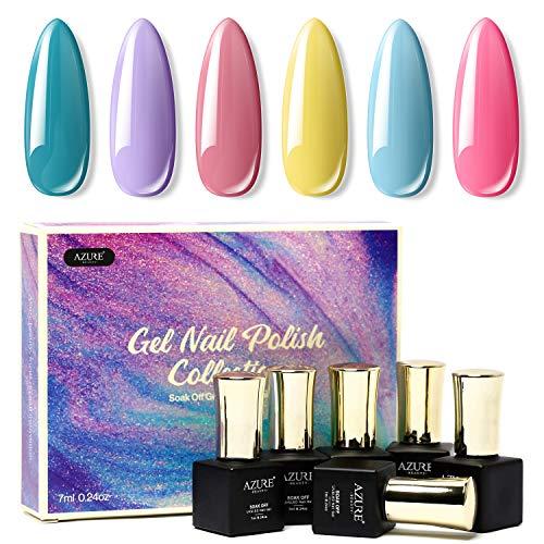 Gel Nail Polish Set - Rainbow Candy 6 Colors Nail Art Gift Box, Soak Off UV LED Gel Polish Kit 0.24 OZ