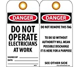 National Marker RPT3G Danger Do Not Operate Electricians At Work Tag