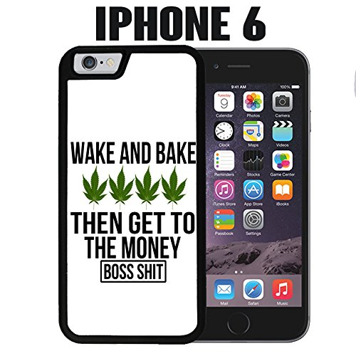 iPhone Case Weed Wake and Bake for iPhone 6 Rubber Black (Ships from CA) (Phone Cases Weed For 6 I)