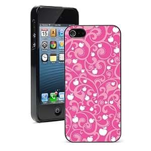 Apple iPhone 4 4S 4G Black 4B594 Hard Back Case Cover Color Pink Floral Apples Pattern