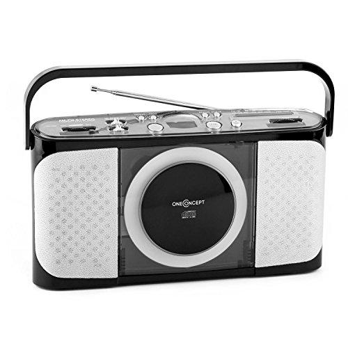 oneConcept Boomtown-Boy einfaches CD Radio Küchenradio Antennenradio mit Trageriff (UKW-MV-Radio-Tuner, analog, ausziehbare Teleskopantenne, Netz- und Batterie-Betrieb) schwarz