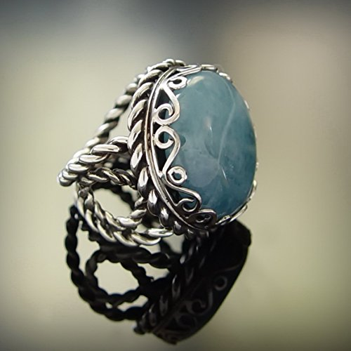 Vintage style Round Blue Jade Ring, Sterling silver handmade jewelry, cocktail statement ring, light blue gemstone ring with ornaments