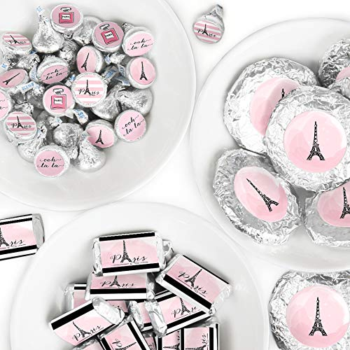 Paris, Ooh La La - Mini Candy Bar Wrappers, Round Candy Stickers and Circle Stickers - Paris Themed Baby Shower or Birthday Party Candy Favor Sticker Kit - 304 Pieces ()