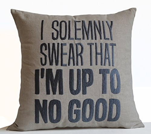 Amore Beaute I Solemnly Swear That I Am up to No Good Funny Message Pillow Cover Handmade Decorative Pillow Case Oatmeal Linen Embroidery Cushion Cove…