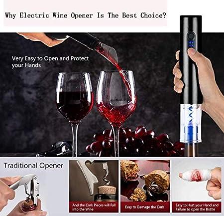 sacacorchos electricos,Abridor eléctrico de vino, abrebotellas eléctrico automático, sacacorchos de vino con cortador de papel de aluminio, apto para amantes del vino, Navidad, fiestas
