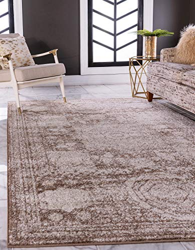 Unique Loom Bromley Collection Vintage Traditional Medallion Border Light Brown Area Rug (7' 0 x 10' 0) ()
