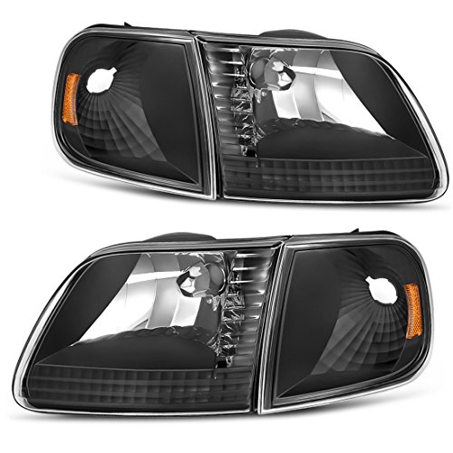 Headlight Assembly for 1997-2003 Ford F-150 Pickup / 1997-2002 Ford Expedition Headlamp with Corner Light, Black Housing Clear Lens, One-Year Warranty(Passenger And Driver Side)