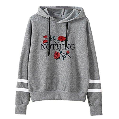XUANOU Womens Long Sleeve Simple Style Hoodie Sweatshirt Jumper Hooded Pullover (Large, Gray # ()