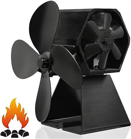 EnweHiko 4 Aspas Mini Estufa Ventilador, Calor Accionado Ventilador De Leña para Estufa De Leña/Estufa/Chimenea Respetuoso con El Medio Ambiente, Silencioso, 150-180 CFM: Amazon.es: Hogar