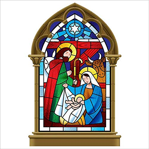 Stained Glass Nativity Scene Christmas Window Cling]()