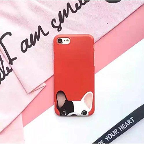 (Sleeping Bear) Apple iPhone 7 Coque/Etui, Mignonne Cartoon Animal Chien Boston Terrier/French Bulldog Téléphone Housse Case/Etui, Ultra Slim, L'absorption des chocs, Anti-égratignures et empreintes d