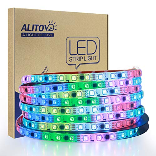 ALITOVE WS2811 Addressable RGB LED Strip 12V Programmable LED Pixel Strip Lights 16.4ft 300 LEDs Dream Color Digital LED Flexible Rope Light Waterproof IP65 with 3M VHB Heavy Duty Self-Adhesive Back