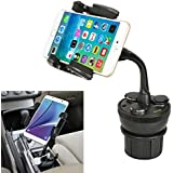 iKross Universal Adjustable Car Vehicle Cup Holder Mount with 3 Sockets and 2 USB charging port 2.1A - Black For iPhone 5S 5C 5 4S, LG Google Nexus 5, G2 801 800, Motorola Moto X, Moto G, Samsung Galaxy S5, S4 mini, Galaxy Note 3, Galaxy S4 and more