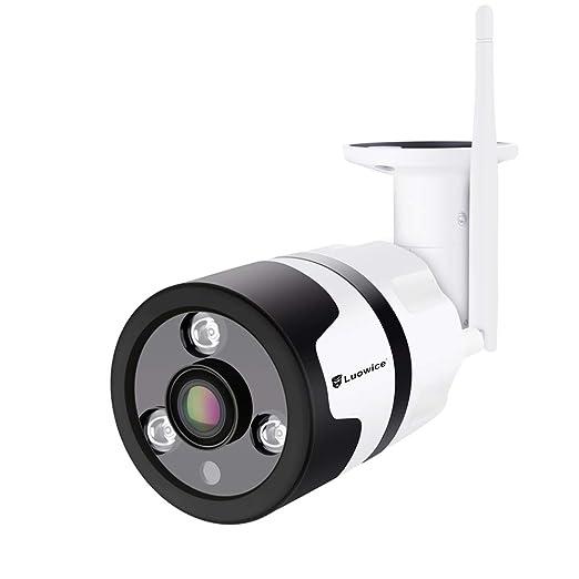 Luowice cámara de vigilancia WiFi para Exteriores 1080p, Gran angular HD Cámara de seguridad inalámbrica Impermeable con visión Nocturna detección de ...