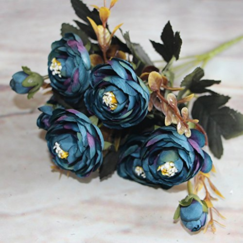 Artificial Lifelike Single Stem Rose Flower Wedding Party Craft Decor (Blue) - 9