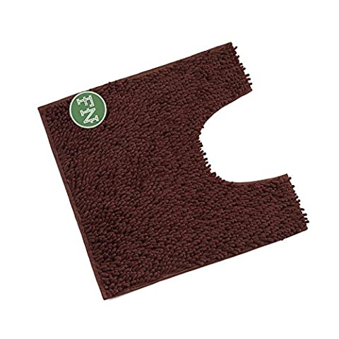 FindNew Contour Bath Rug, Soft Shaggy U-shaped Toilet Floor Mat Bathroom Carpet, 19.5 X 19.5 inches (Light (Bathroom Rugs Contour)