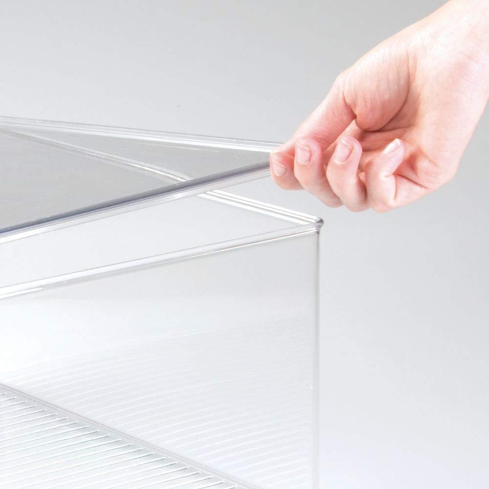 Organizador de armarios de pl/ástico transparente para el dormitorio Cajas para guardar ropa y accesorios mDesign Caja organizadora con tapa gris