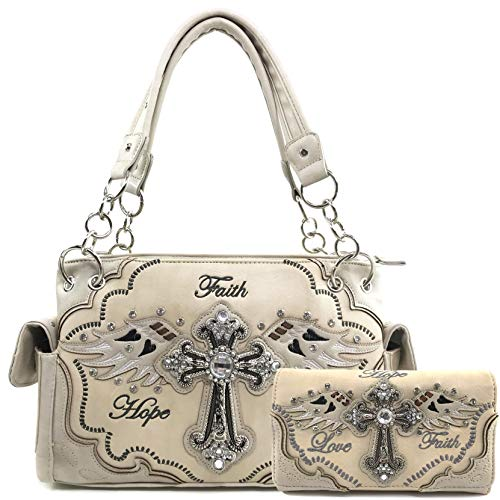 Justin West Women's Concealed Carry Angel Wings Cross Faith Hope Love Western Handbag Tote Purse (Beige Handbag Wallet Set)