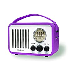 Electrohome Portable Alarm Clock with AM/FM Radio,Nap/Sleep Timer, Day/Date Display with Dimming, Purple