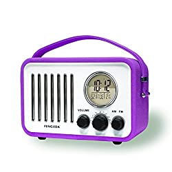 Electrohome Portable Alarm Clock with AM/FM Radio,Nap/Sleep Timer, Indoor Temperature/Day/Date Display with Dimming, Purple