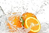 Orange Fruits And Splashing Water Art Print Canvas Poster,Home Wall Decor(28x42 inch)