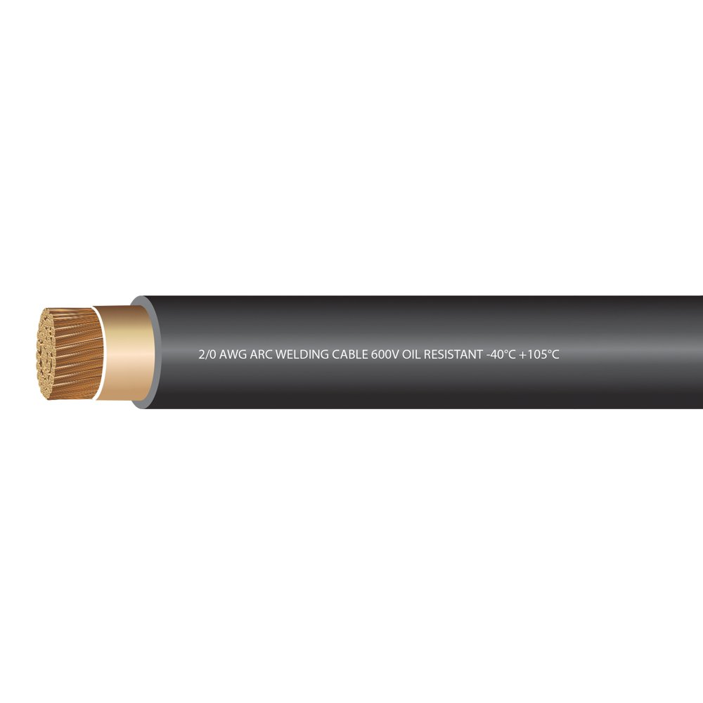 EWCS 2/0 Gauge Premium Extra Flexible Welding Cable 600 Volt - Black 20 Feet - Made in the USA! by EWCS