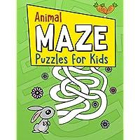 Animal laberinto rompecabezas para niños: Grande para colorear Actividad libro para niños en edad preescolar, y de impresión Kids con fácil de Mazes para niños edades 4-8