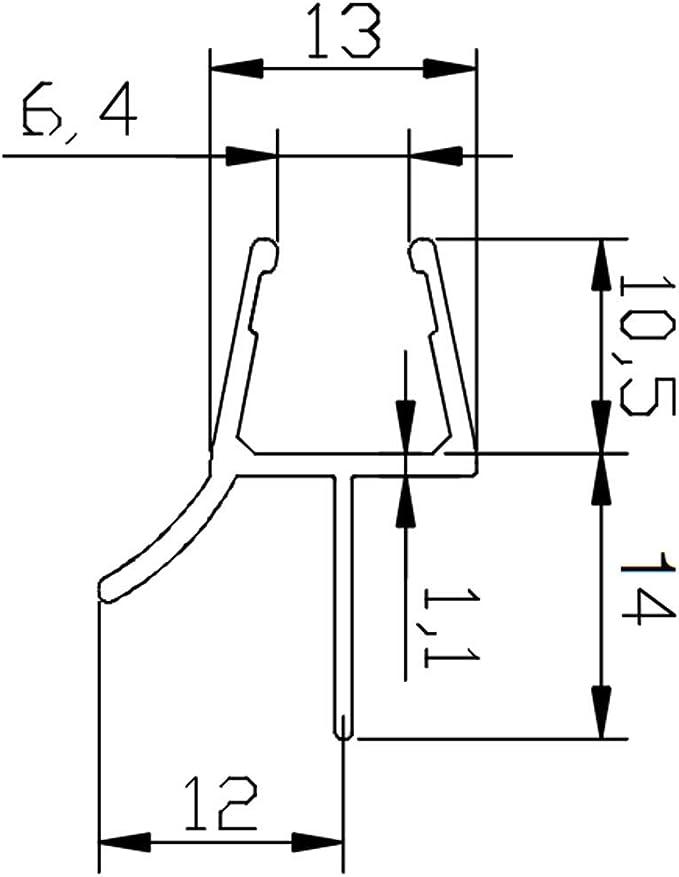 Perfil Junta con Doble pulsador para mampara de ducha Espesor de vidrio 8 – 10 mm, longitud 2500 mm 8pt1 – 35: Amazon.es: Bricolaje y herramientas