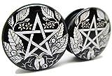 Brand NewPair Black & White Pentagram Ear Plugs - Acrylic Screw-On - 10 Sizes