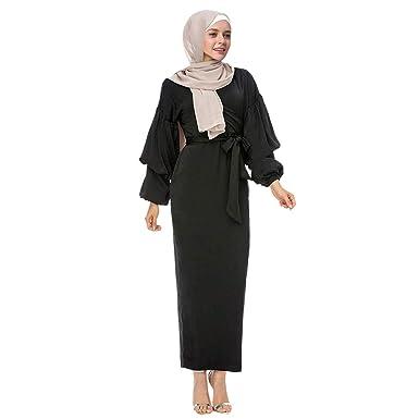 Muslim Vestido de Mujer Color sólido Puff Manga Cuello en V ...